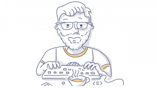 man working on computer doodle